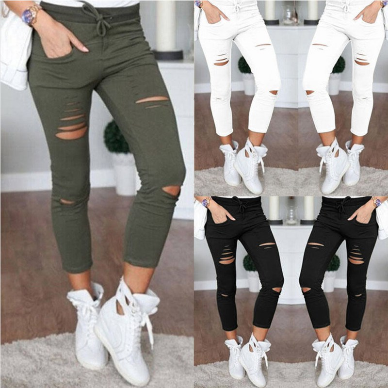 e01564fadb84b 2019 Womens Ladies Ripped Skinny Denim Jeans Cut High Waisted ...