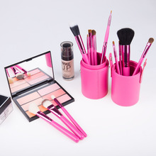 도매 12 pcs Professional Private Label Custom 페이셜 Foundation 분말 Cosmetic Brush Kit 메이 컵 Brush Set Tool 와 홀더