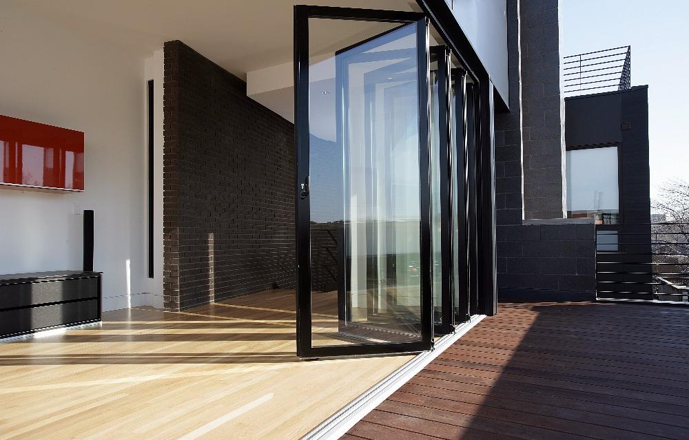 Automatic sliding glass doors - Wooden Grain Color Aluminium Swing Outward Opening Doors