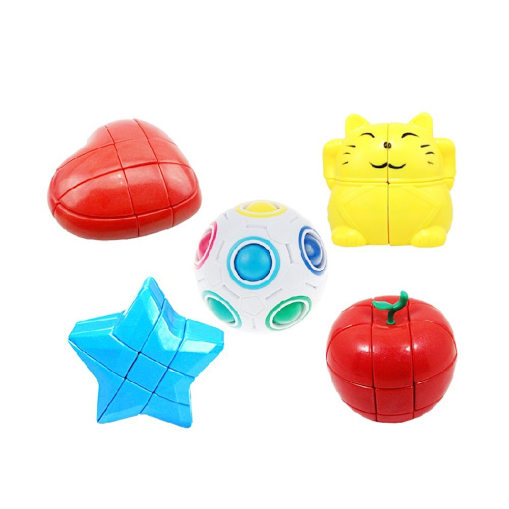 Ting-w®2016 NEW !Set of stickerless twisty speed Yongjun qiji magic cube,education toys (Star Magic cube+ Heart Magic cube+ Ball Magic cube+ Lucky Cat Magic cube+ Apple Magic cube)