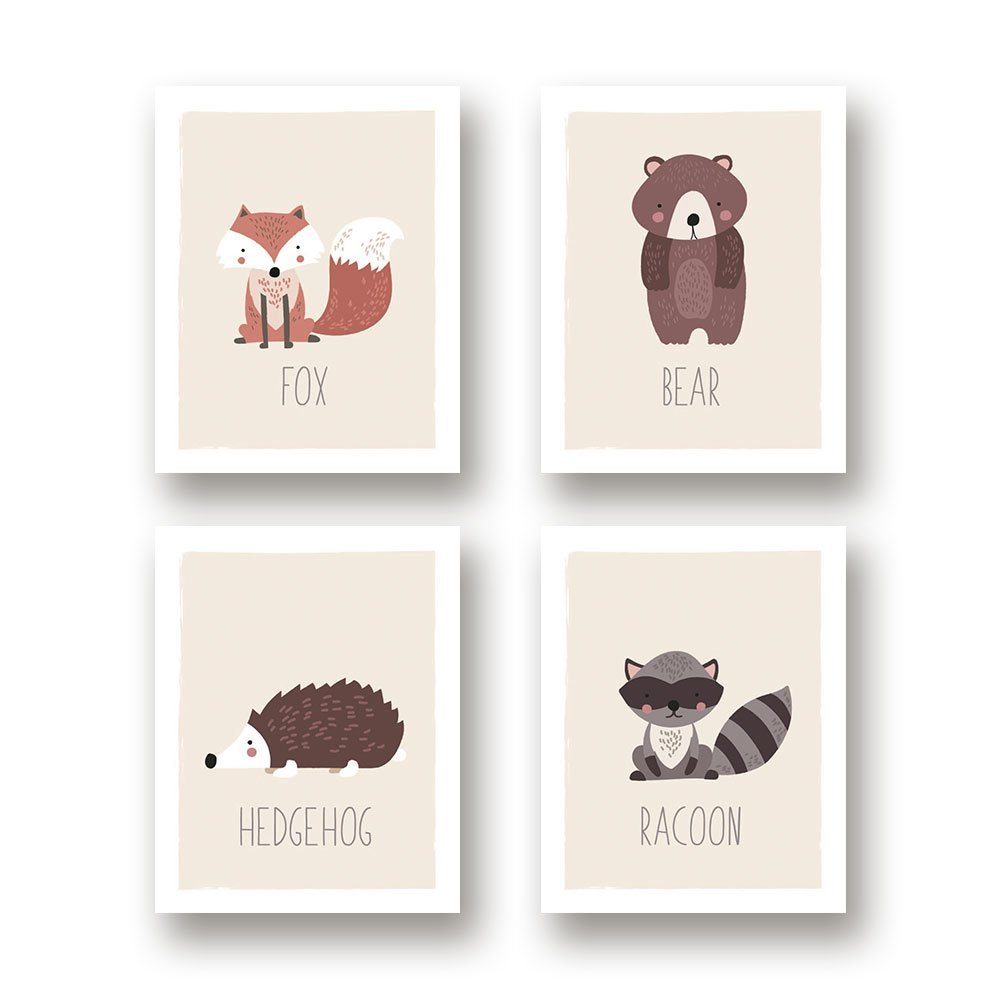 Woodland Nursery Decor, Set of 4 11x14 Unframed Prints, Boho Decor, Wall Decor Kids, Hedgehog Fox Bear Raccoon Baby Registry, Gender Neutral Wall Art, Dream Room Decor, Nursery Woodland Decor, Forest