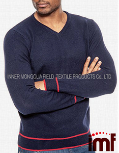 Fashion Men's Long Sleeve Solid V Neck Pullover Casual Sweater