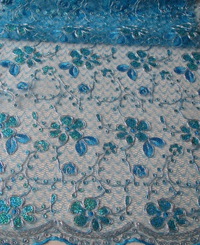 cheap lace wholesale embroidery tulle fabric with sequin cord embroidery design for dress, shaoxing textile stock lot