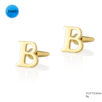 Hot selling custom gold and silver letter initial cufflinks