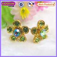 Assorted flower rhinestone earring, green stone earring in gold color #21278