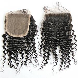 "MsFenda Hair Top Quality 100% Raw Virgin Hair; A+ Malaysian Human Kinky Curly Hair 1 Pcs Lace Closure (4*4) ;35g 8"";10"";12"";14"";16"";18"" Closure; Natural Black 1b"