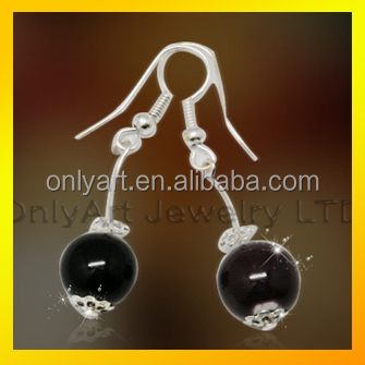 black stone inlaid women's titanium or stainless steel drop earring