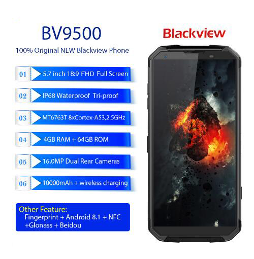 """Blackview BV9500 IP68 waterproof 5.718:9 FHD Smartphone 4G Android 8.1 4G+64GB 10000mAh wireless charging NFC mobile phone GPS"""""""