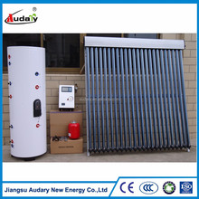 Split pressurized heat pipe solar water heating system