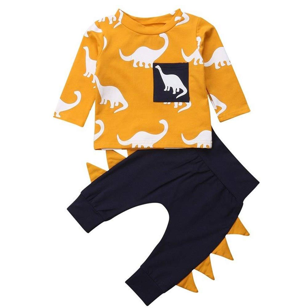 Infant Baby Toddler Boys Girls Dinosaur Outfits Long Sleeve T-Shirt with Pant Clothing Set