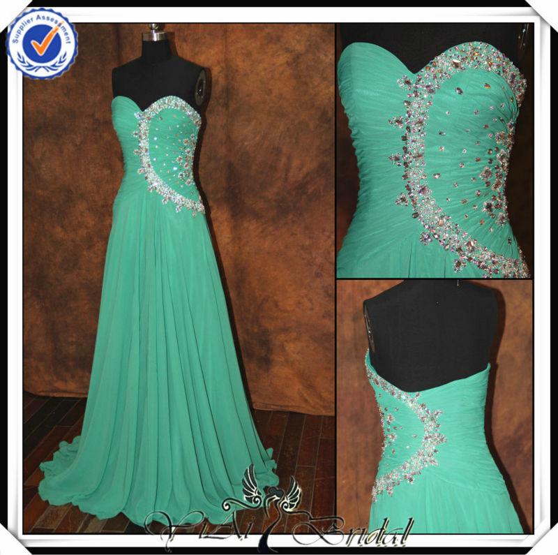 Modelos de vestidos de fiesta color verde jade