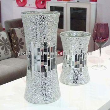 Handicraft Silver Decorative Cheap Mirror Flower Glass Mosaic Vases
