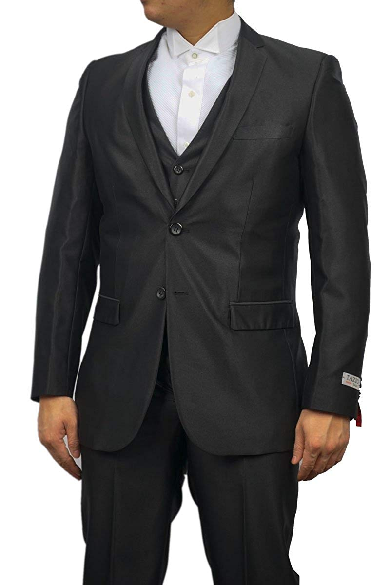 TAZIO Mens Black Sharkskin Suit 2 Button 3 Piece Slim Fit with Vest