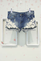 Refined aesthetic pearl lace flower hole denim shorts shorts (02.11)