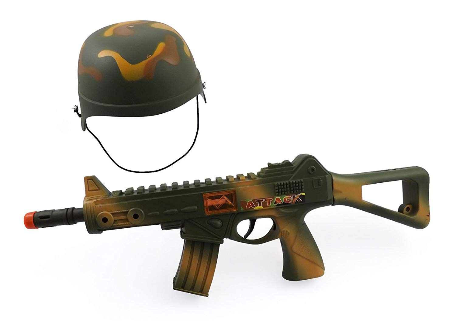 """Camouflage Army Helmet and 16"""" Machine Gun Toy Rifle Military Combat Playset for Kids"""