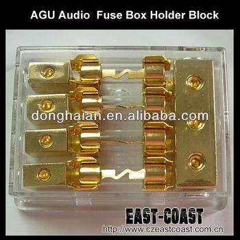 car agu audio 80a amp 1 in 2 out box fuse holder block 4ga in 8ga