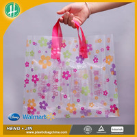 Manufacturer Custom Logo Printing Loop Handle Restaurant Takeaway Plastic Soft Material Bags For Food