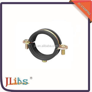 Factory supplied split pipe clamp with EPDM rubber, galvanized iron heavy duty single pipe clamps M-6 with outer rubber