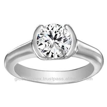 09b91cfe669cc Natural Round Cut Diamonds Engagement Solitaire Wedding Rings In 14k White  Gold - Buy Tanishq Diamond Rings,Diamonds Rings,Diamond Jewelry Product on  ...