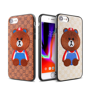 TPU Phone Case For iPhone 8 Mobile Phone Cover Cute Bear Embroidery Case For iPhone 8 Phones Cover