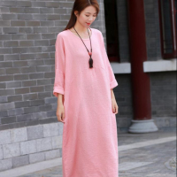 2020 new arrivals Cotton and linen dress women round neck solid color loose women's robe dress Plus size