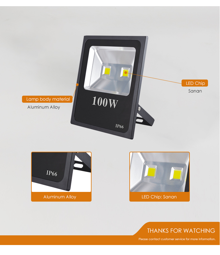 Factory direct price Cost-effective IP65 outdoor 100 w COB led floodlight spotlight