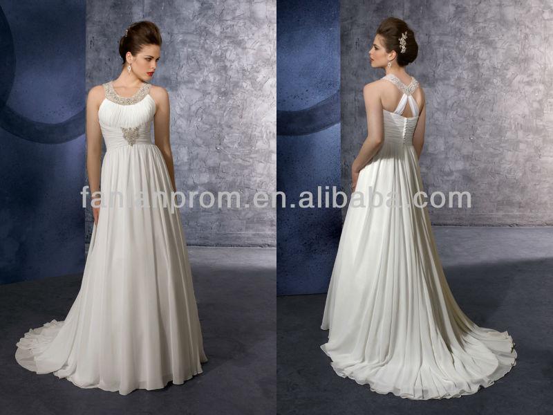 Hot Sell Simple Halter Crystal Chiffon Plus Size Wedding