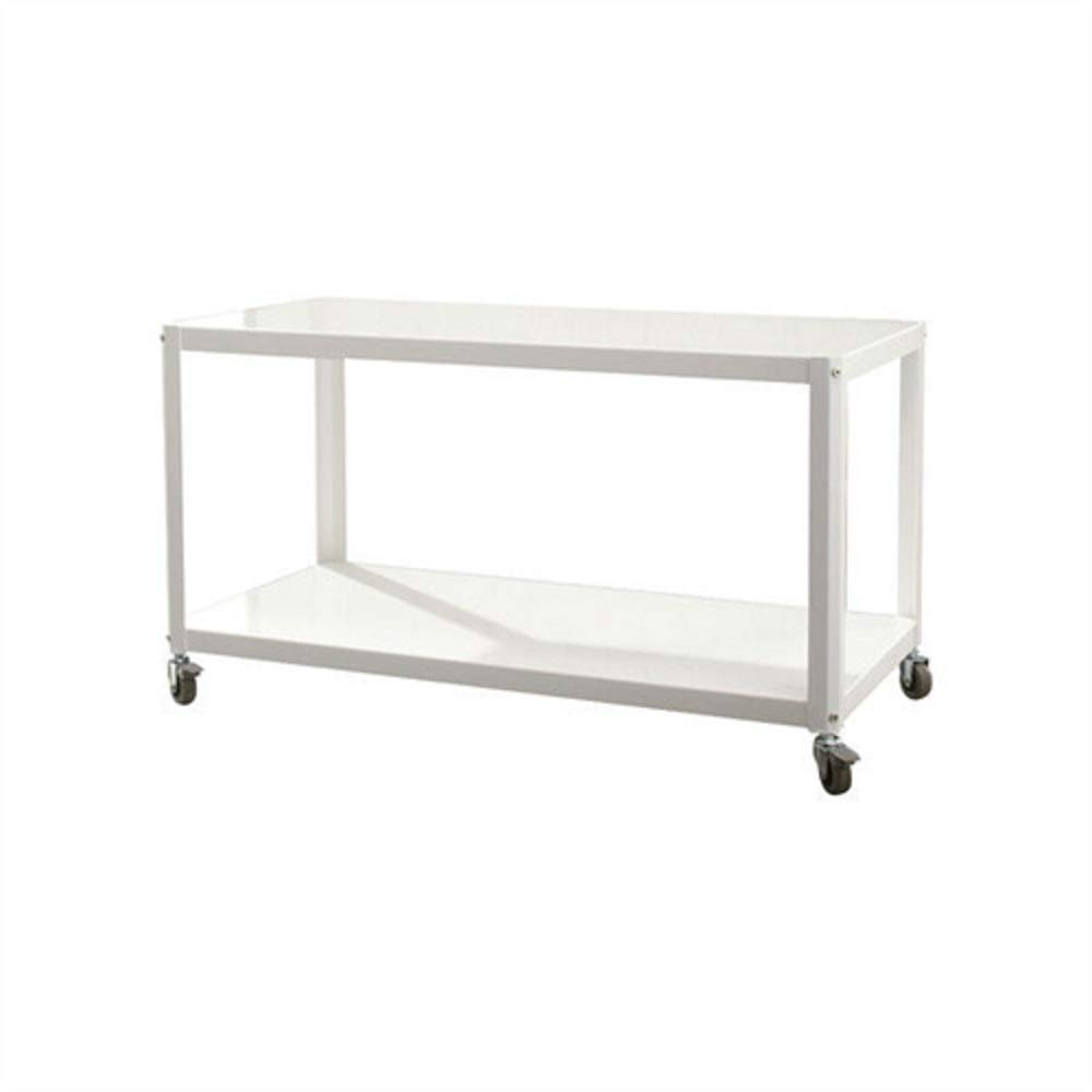 MyEasyShopping White Metal Modern TV Stand Cart with Bottom Storage Shelf Gloss High Screen Table Unit