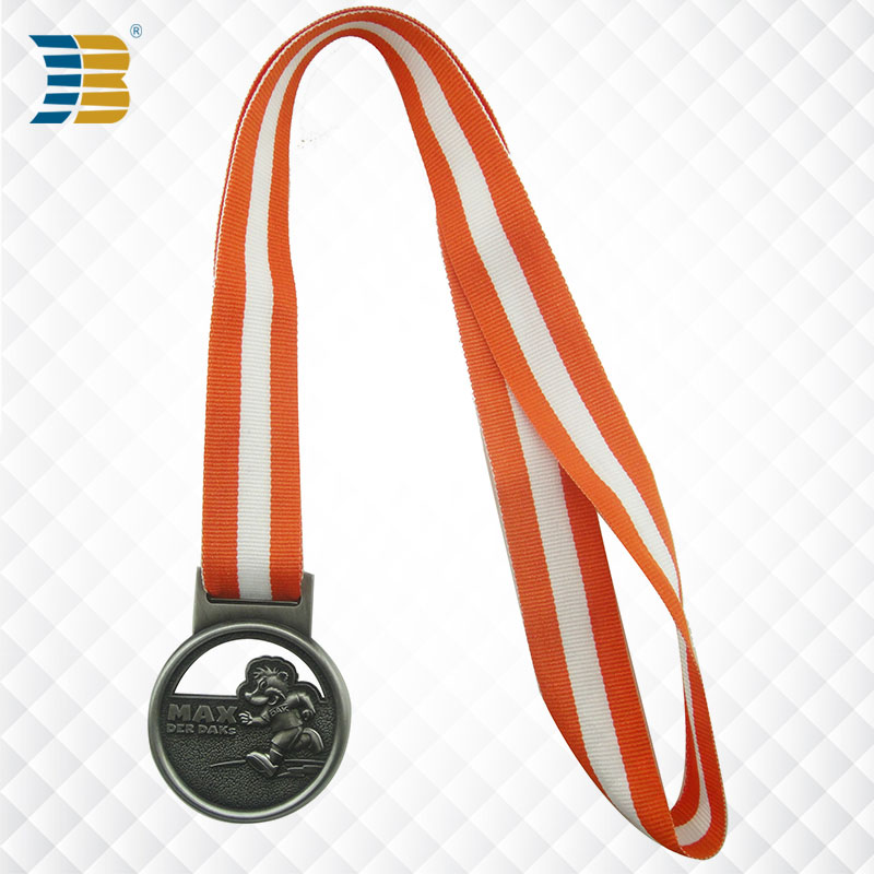 custom bronze running sports award medal with ribbon