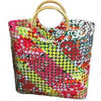 Recycled Shopping Bag with Rattan Handle
