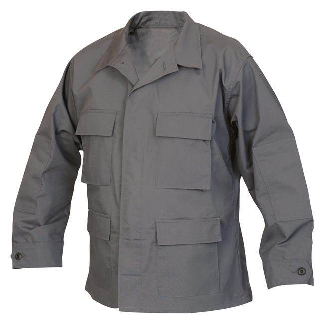 Mens BDU Uniform Shirt 4 pockets Grey Outdoor Military Long  Sleeve Tactical Coat
