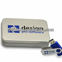 Recyclable Feature and Glossy Lamination metal usb flash tin box with foam inside