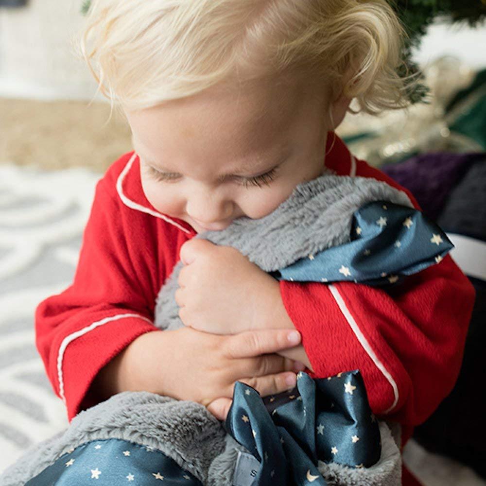 "Saranoni Satin Border Receiving Blankets for Babies Super Soft Lush Luxury Baby Blanket (Gray Lush Navy Twinkle Star Satin Border, Security Blanket 15"" x 20"")"