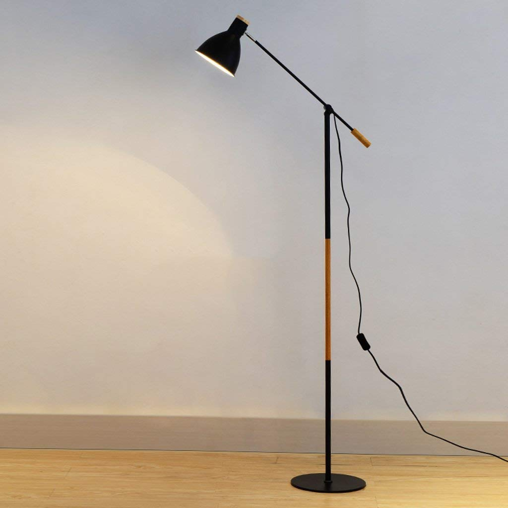 "Adjustable Long Arm Floor Lamp, Iron Lampshade, E27, Height 67.77"", Button Switch, Black, White, Nordic Modern Style, Study Floor Lamp (Color : Black)"
