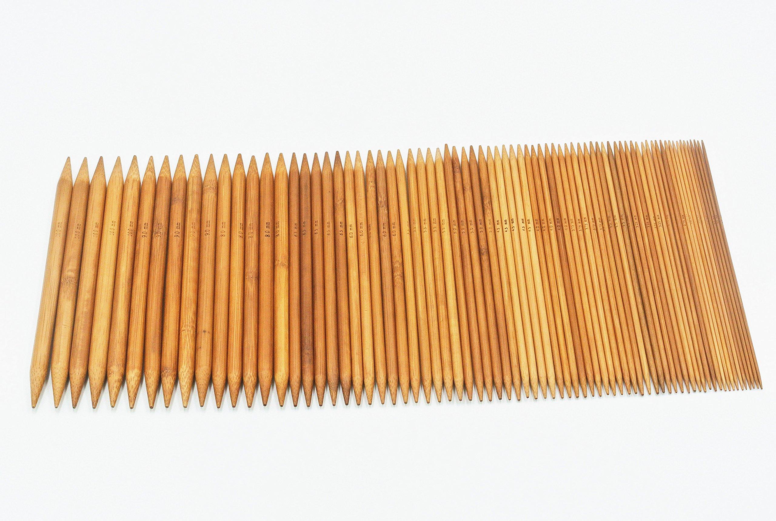75pcs 15 Sizes 8/'/' 20cm Carbonized Bamboo Double Point Knitting Needles 2-10mm