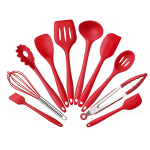 Durable 10 Pieces Set Kitchen Tool Fda Food Grade Silicone Utensil Set For Cooking