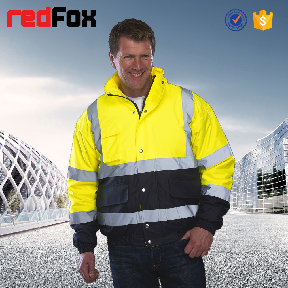 high visibility 2 bands reflective safety 100% polyester bomber jacket