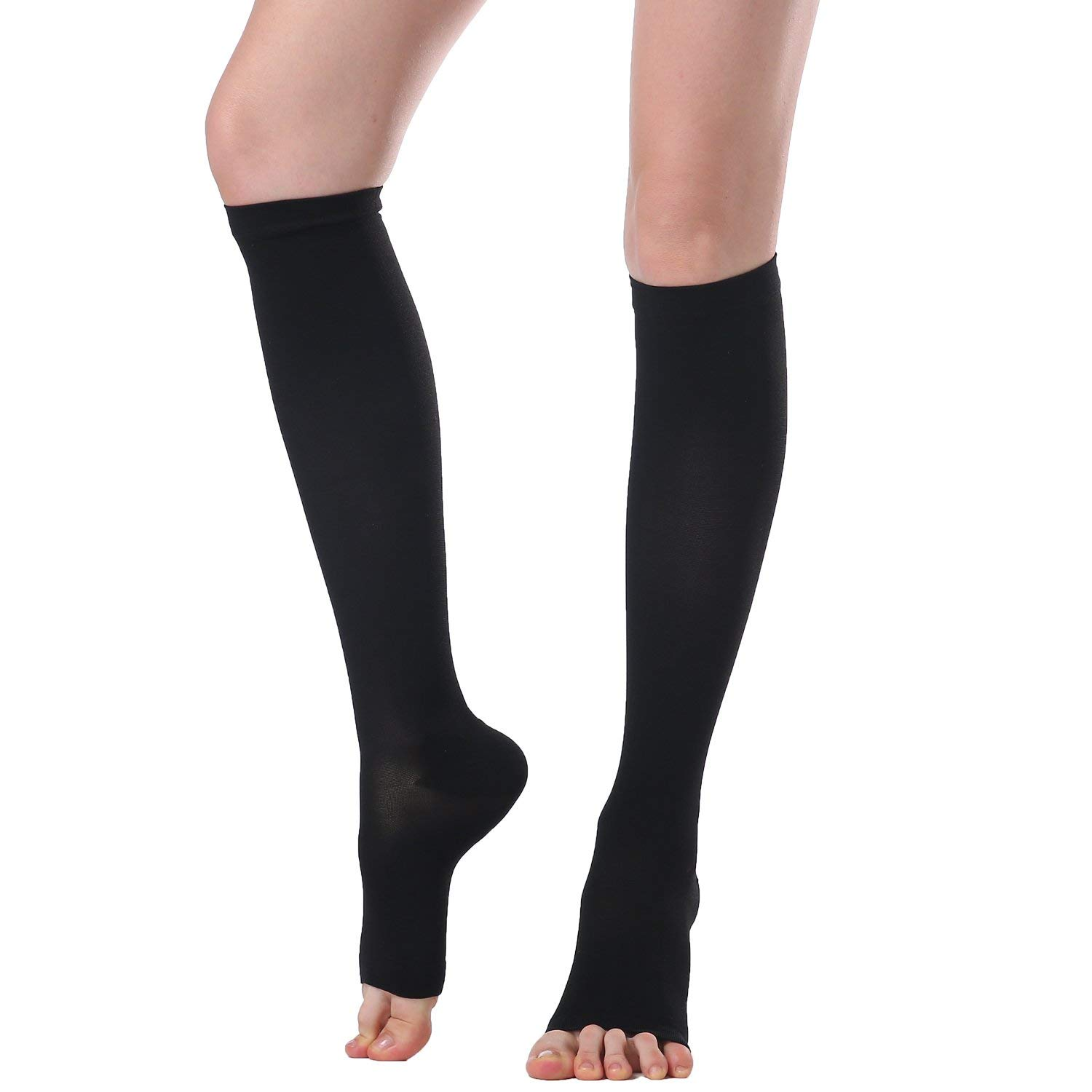 Compression Stockings & Stovepipe Socks Slimming Legging Knee High Sock For Women&Men-20-30mmHg-30-40mmHg Medical Support Hose Compression Socks,Treatment For Swelling,Varicose Veins (XL, Black(D))