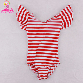 75785a0c8827 Children Gymnastics Leotard Red White Stripes Ruffle Sleeve Girls ...