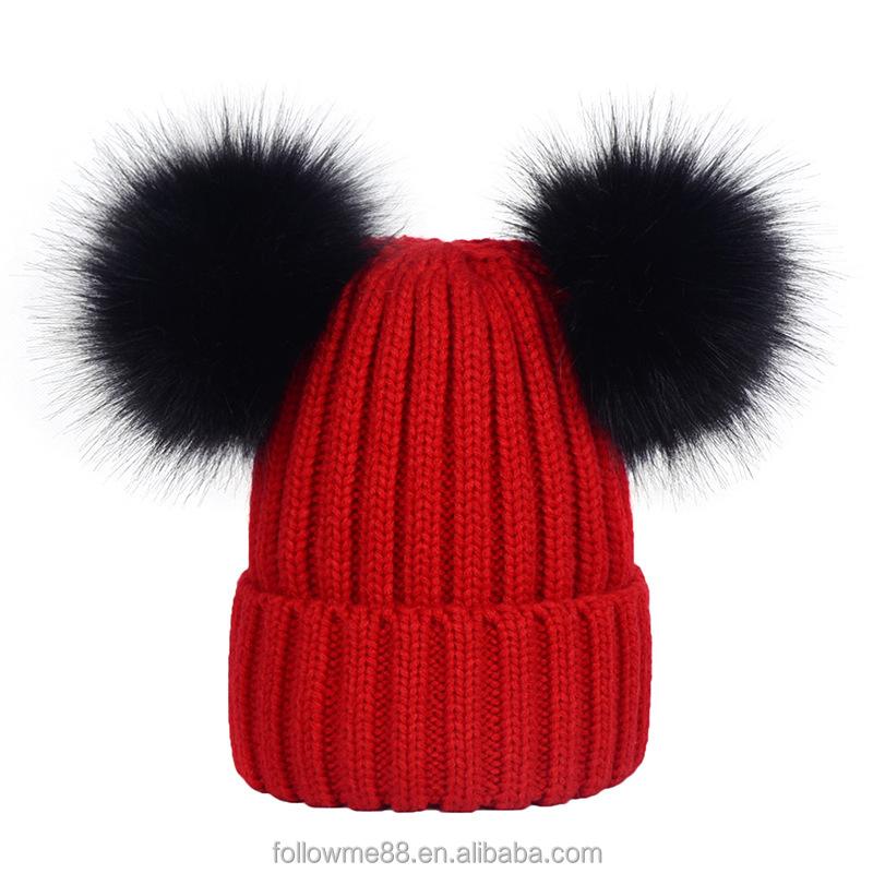 4fa22914a3d New Men Women Beanies Hat Knitted Cap Fashion Lovers Warm Winter Crochet  Knitting faux fur Pom Pom hats