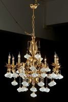 Luxury antique crystal&candle lamp chandelier,residential lighting,pendent lamp,copper gold plated(B50338)