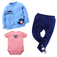 Cotton Clothing Baby Boy 3Pcs Short Sleeve Bodysuit Set