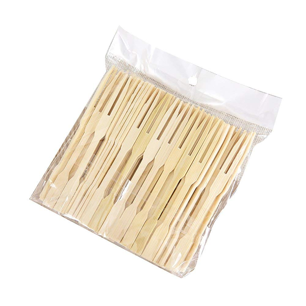 Alamic Bamboo Forks 3.5 Inch, Mini Food Picks for Party, Banquet, Buffet, Catering, and Daily Life. Two Prongs - Blunt End Toothpicks for Appetizer, Cocktail, Fruit, Pastry, Dessert