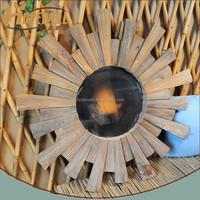 natural wood sunburst small decoration bar mirror