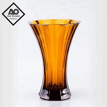 263cm Tall Octangle Amber Colored Glass Vase Stylish Vase
