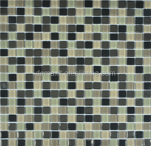 Europe style splice black wave finish Thickness 8 mm mix stone glass mosaic tile