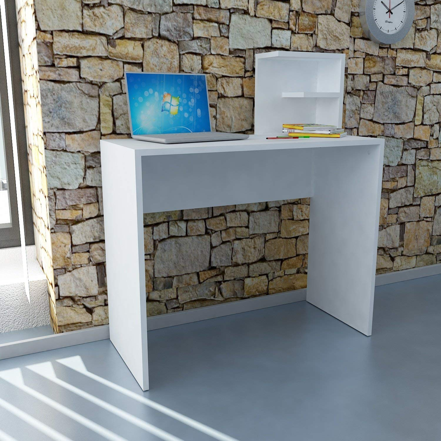 Writing Computer Desk Modern & Simple White One Color Simple 2 Pieces Rectangle Functional Study Desk Industrial Style Study & Laptop Table Home, Office, Living Room, Study Room Way - White White