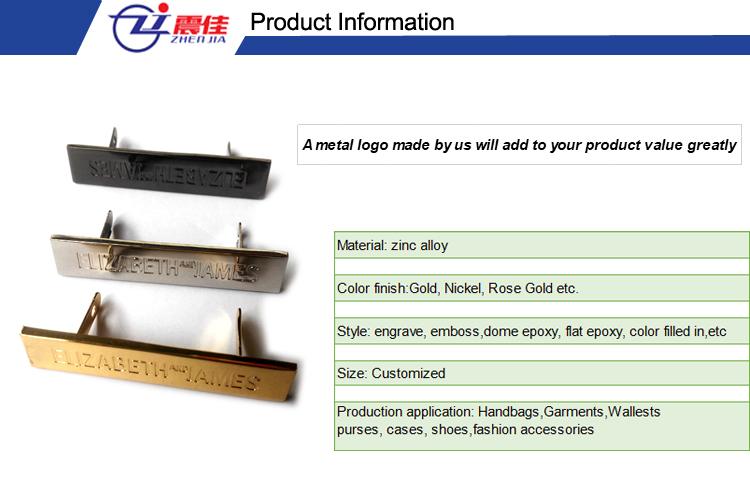 Logotipo personalizado de etiqueta de metal de diferentes colores para bolso accesorio de hardware de bolso de marca