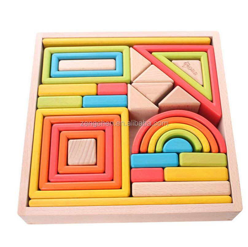 Colorful Wooden Rainbow Block Toy for <strong>Kids</strong>