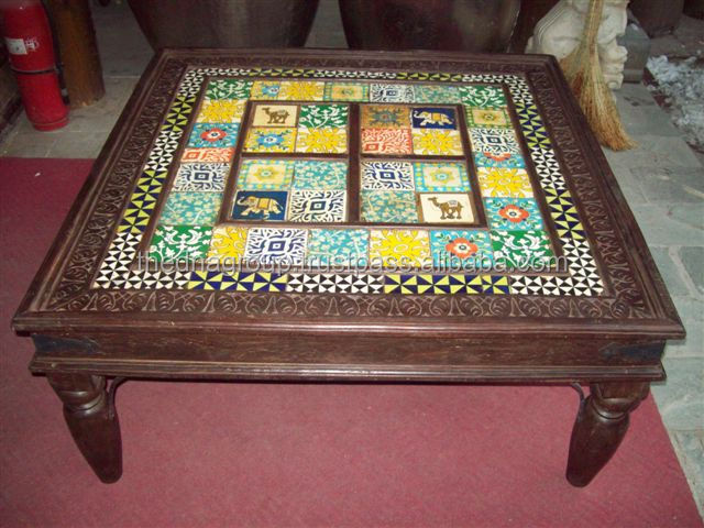 Wooden Coffee Table With Attractive Ceramic Tiles